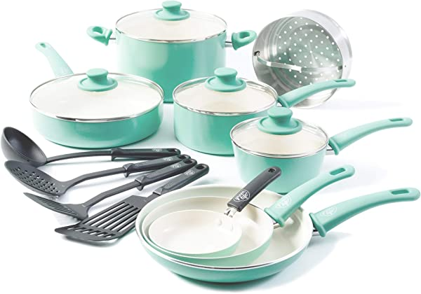 GreenLife Soft Grip 16pc Ceramic Non Stick Cookware Set Turquoise