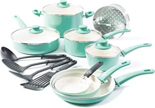 GreenLife Soft Grip 16pc Ceramic Non-Stick Cookware Set,