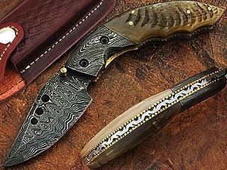 MMK International Handmade Damascus Steel Pocket Knife Steel Bolster File Work on Blade Back Edge Ram Horn Handle Folding Knife Leather Sheath