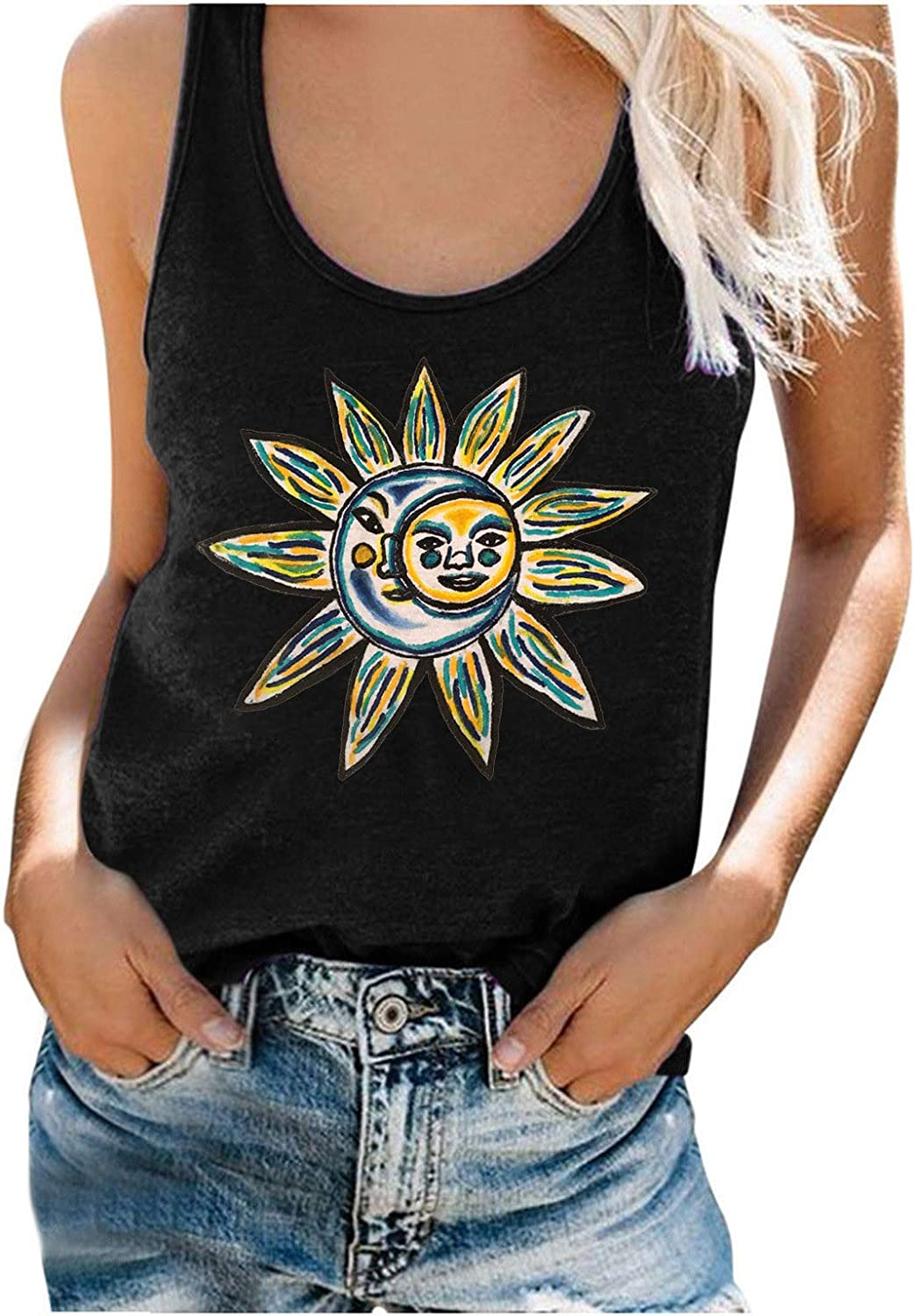 Summer Tops for Women Casual Flower Print Camisoles Tank Tops for Women Button Low-Cut Sleeveless Tunic Shirt Summer Dressy Blouses Sexy Tees Blue