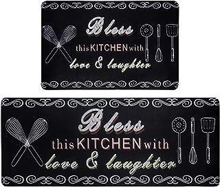 "HEBE Anti Fatigue Kitchen Rug Sets 2 Piece 17""x48""+17""x28"" Non Slip Thick Cushioned Kitchen Floor Mats Set Anti-Fatigue Ma..."