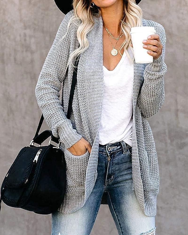 MEROKEETY Womens Long Sleeve Open Front Cardigans Chunky Knit Draped Sweaters Outwear