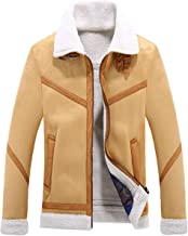 Chartou Men's Winter Spread Collar Sherpa Lined Suede Leather Trucker Jacket Coats