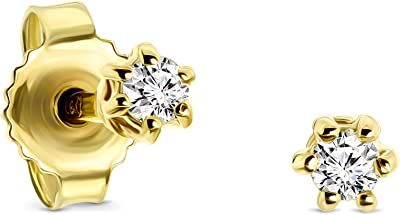 Miore pendientes 6 garras con presion oro blanco/oro amarillo 9 kt 375 con diamantes talla brillante 0,08 ct