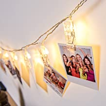 mieeter String Lights 16 LED Photo Clips Hanging Pictures, Artworks and Cards, Decoration for Bedroom, Patio and Outdoor, Battery Powered, 15 feet (Warm White)