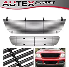 AUTEX F87989H Aluminum Black Horizontal Main Upper Billet Grille Insert + Lower Bumper Grill Combo Compatible With Ford Explorer 2002 2003 2004 2005 Grill Insert