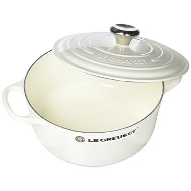 Le Creuset Signature Enameled Cast-Iron Round French (Dutch) Oven, 4-1/2-Quart, White