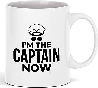 Printed Coffee Mug - White Ceramic Cool Custom Printed Mugs - I'm The Captain Now Mugs for Pilots - Great Gift Ideas For Graduation Day, Birthday, Thanksgiving, Christmas