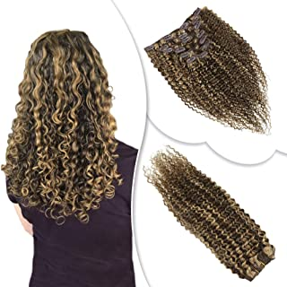 RUNATURE Kinky Curly Hair Extensions Clip Ins 8 Inch 7 Pieces Highlights Chocolate Brown with Strawberry Blonde #4/27 Color Short Clip in Human Hair Extensions 100g Per Pack Real Hair