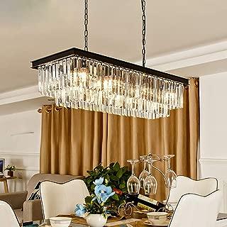 Rectangular Modern K9 Crystal Chandeliers Lighting Pendant Ceiling Lights Rectangle Chandelier Lamp Fixture 8-Lights for Dining Room Kitchen L33.5 Inch