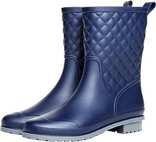 Yvmurain Women's Mid Calf Rain Boots Waterproof Rubber Booties Garden Shoes Outdoor Work