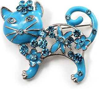 Russian Blue' Enamel Cat Brooch