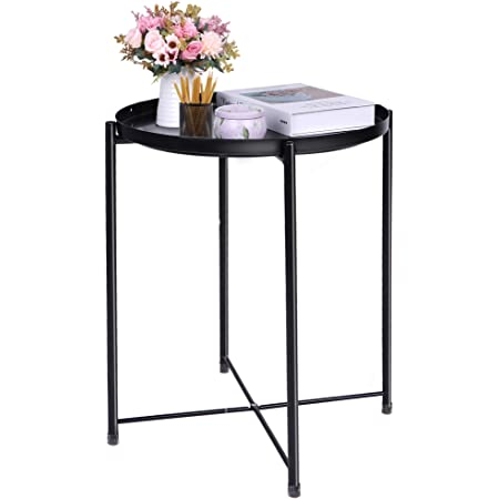 End Table Black Side Table Round Table Small Metal Table Patio Side Table for Small Spaces Sofa Living Room Bedroom Coffee Bedside Removable Tray Outdoor Accent Nightstands Folding Balcony