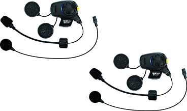 Sena Bluetooth Headset and Intercom with Built-In FM Tuner for Scooters/Motorcycles with Universal Microphone Kit (Dual Pack) (SMH5D-FM-UNIV)
