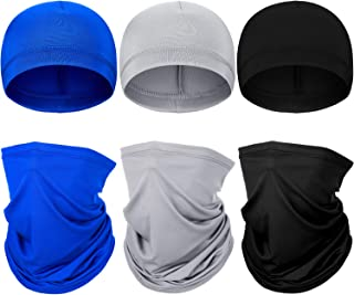6 Pieces Summer UV Protection Neck Gaiter Helmet Liner Skull Caps Face Neck Scarf Sweat Wicking Cycling Cap