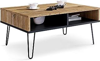 Table Basse Pour Salon, Effet Bois Rétro et Table d'appoint pour canapé noir de style industriel, de centre rectangulaire ...