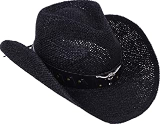 Unisex Woven Straw Cowboy Ranch Hat with Shapeable Brim