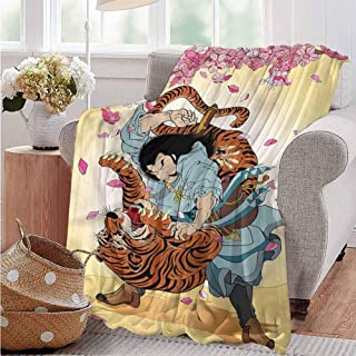 AndyTours Comfort Blanket,JapaneseSamurai and Tiger,Gifts to Your Family,Friends,Kids W60x80L