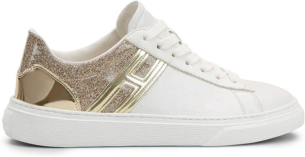 Hogan Sneakers Donna H365 Bianche con Glitter Oro - HXW3650J970 ...