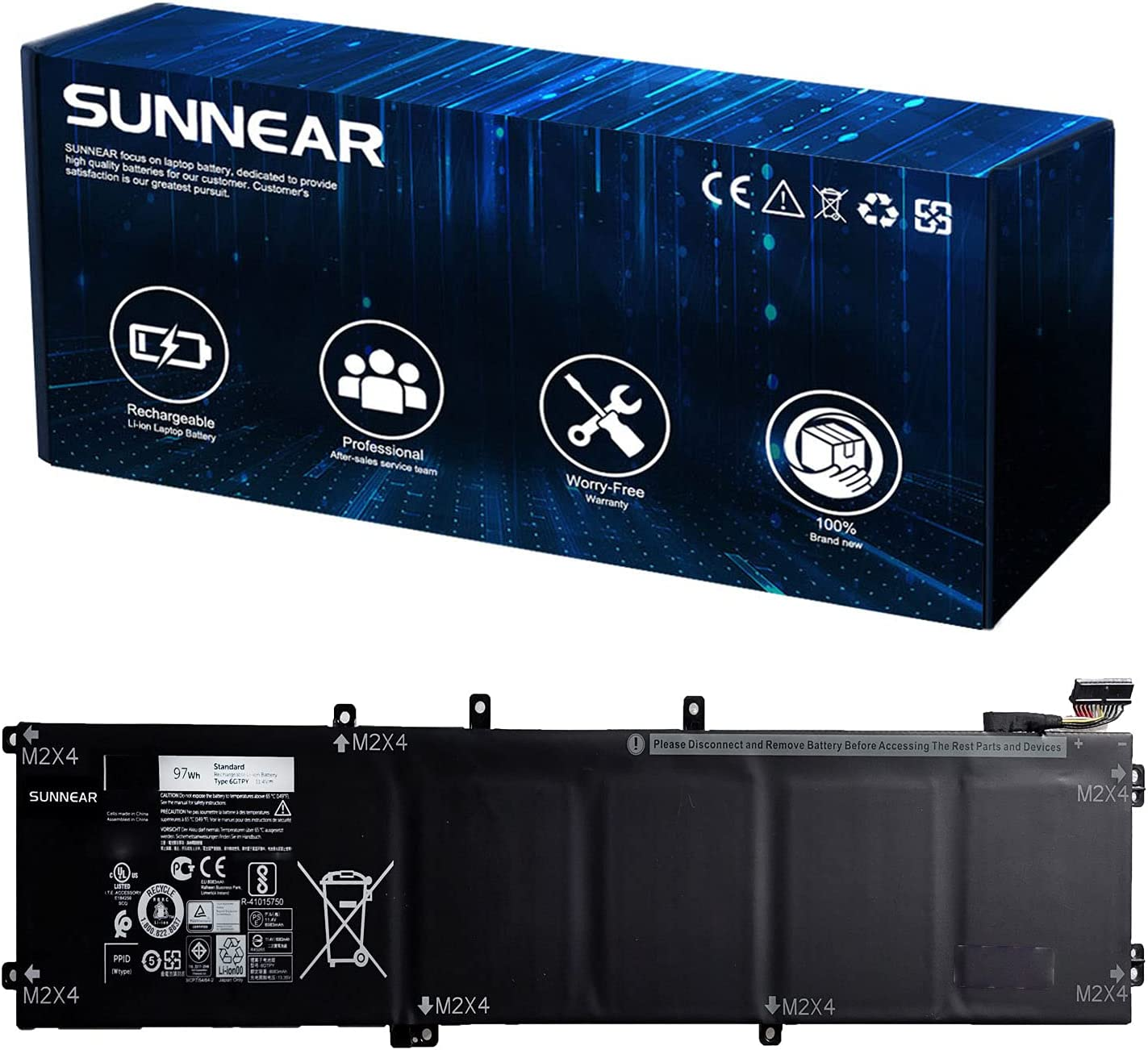 SUNNEAR 6GTPY Luxury 97Wh Battery Replacement for XPS Dell 70% OFF Outlet 15 9560 9550
