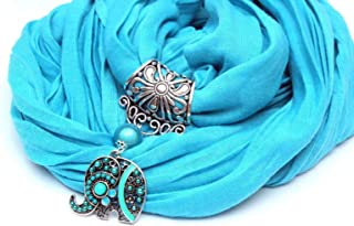 Écharpe foulard bijou bleu, Éléphant cristal, echarpe foulard femme cadeau Noel original tendance