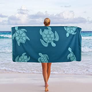 Ikfashoni Sea Turtle Beach Towel, Quick Dry Beach Towels Oversized, Sand Free Beach Towel for Bath, Travel, Outdoor, Pool, Sport, Hotel, Gym and Spa, Blue, 31 x 60 inches