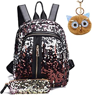 Sequin Backpack for Girls Mini Sparkly Flip Kids School Bag and Owl Pendant (Gold)