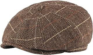 BESBOMIG Mens Newsboy Cap Herringbone Flat Cap Beretta Cap Ivy Dad Irish Caps Traditional Solid Hats 56-59cm