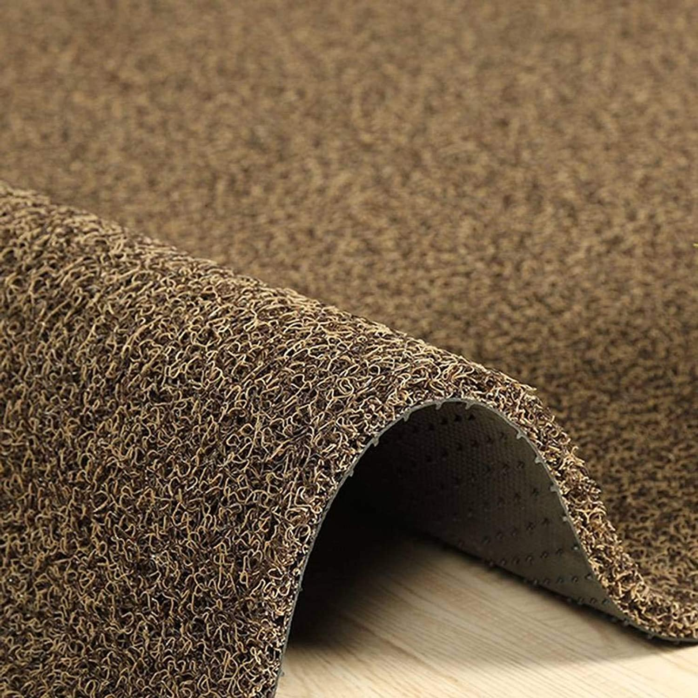 PVC Doormat, Heavy Backing Anti-Slip Durable Low Profile Pad for Indoor and Outdoor, Entrance, Front Door, Hallway and Garage-80x120Cm(31x47Inch)-Beige Brown