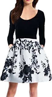 Zalalus Women's Elegant Floral Patchwork Pockets Backless Casual Party Dress