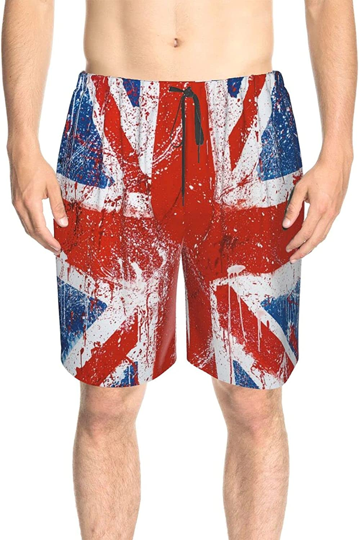 JINJUELS Mens Swim Trunks Painted England Flag Swim Short Boardshort Fast Dry Fashion Beach Swim Trunk with Pockets