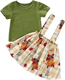 SEVEN YOUNG Halloween Toddler Baby Girls Skirt Sets Outfit Pumpkin Shirt Top+Strap Overall Skirts Fall Clothes