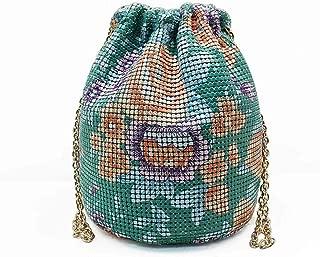 Fashion Fashion Individual Character Casual Green Printed Aluminum Chain Bag Bundle Pocket Portable Female Bag Pumping Bucket Casual Handbag 209g