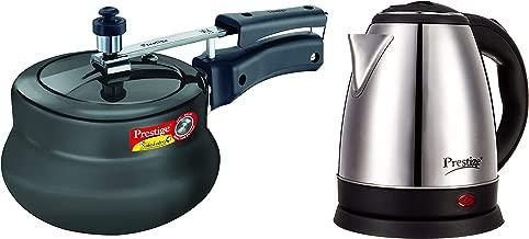 Prestige Nakshatra Plus Hard Anodised Aluminium Pressure Handi, 2 litres, Black and Electric Kettle PKOSS - 1500watts, Steel (1.5Ltr), Black Combo