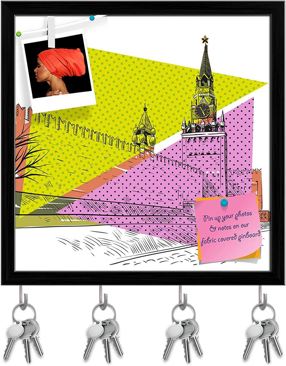 Artzfolio Moscow Red Square D2 Key Holder Hooks   Notice Pin Board   Black Frame 20 X 20Inch