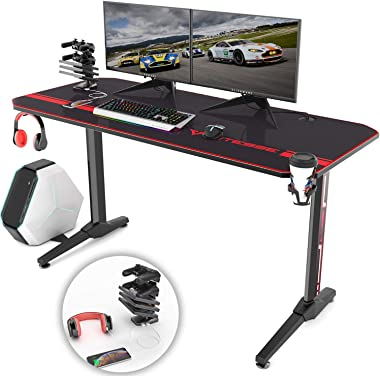 Vitesse 55 inch Gaming Desk Racing Style Computer Desk with Free Mouse pad, T-Shaped Professional Gamer Game Station with USB