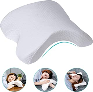 HOMCA Memory Foam Pillow for Sleeping, Slow Rebound Pressure Arched Couple Pillow for Side Sleeper Neck Back Pain Lumbar Support Office Rest Pillow
