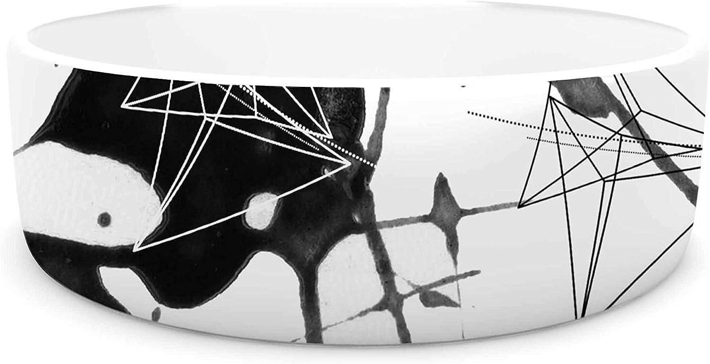 KESS InHouse Li Zamperini Geometric  Black White Pet Bowl, 7