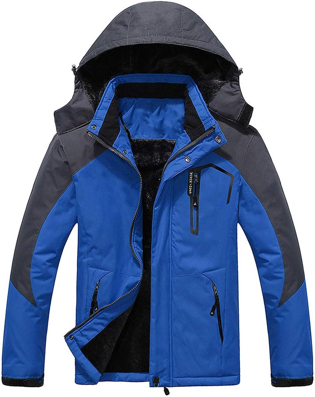 Thick Warm Parka Coat Waterproof Mountain Jacket Pockets Hooded Fleece Windbreaker,Turquoise,XXXL
