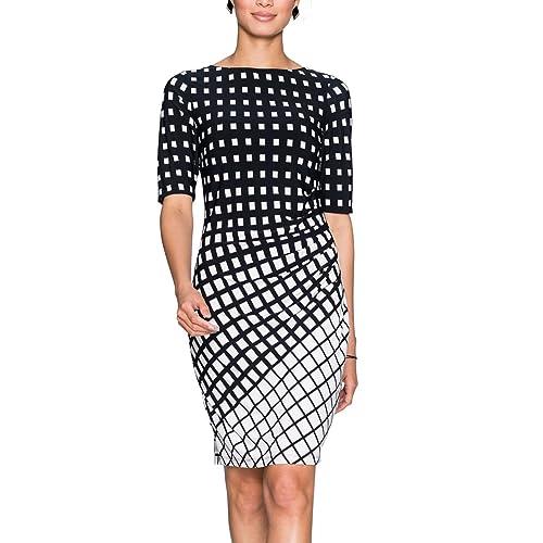 df99a739e000a Eliacher Women Pleated Front Gradient Grid Print Summer Dresses Half Sleeve  Bodycon Midi Dress Knee Length