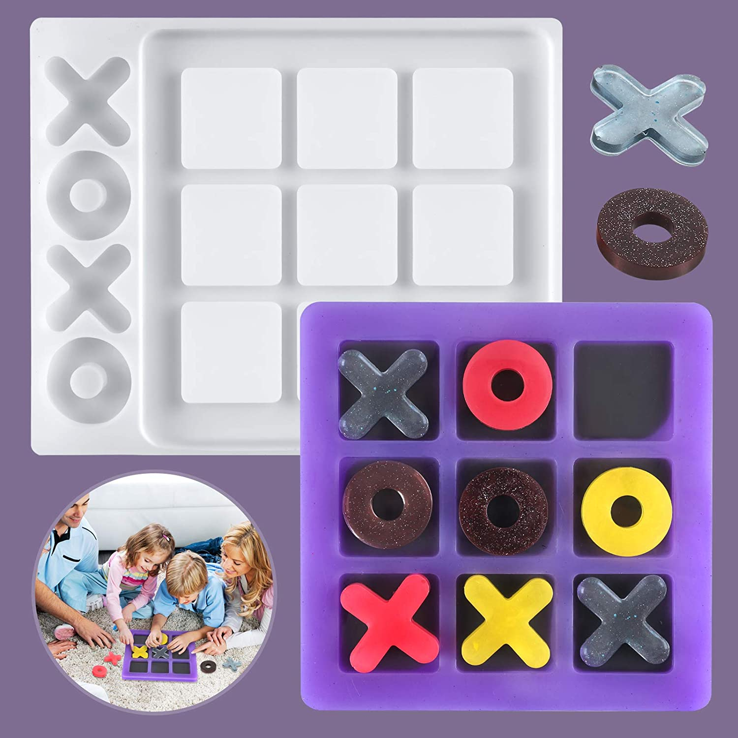 Large Selling Tic Tac Toe Game Board Epoxy Silicone Ca Resin Mold Free shipping anywhere in the nation
