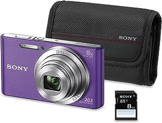Sony DSC-W830 - Cámara compacta de 20.1 Mp (pantalla de 2.7 zoom óptico 8x estabilizador óptico) violeta - Kit cámara + Funda + SD 8 GB