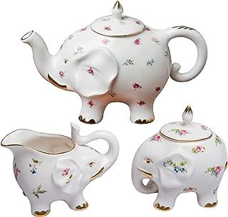 Grace Teaware Fine Porcelain Happy Elephant (3-Piece Tea Set, Petite Floral Spray) with Gold Trim