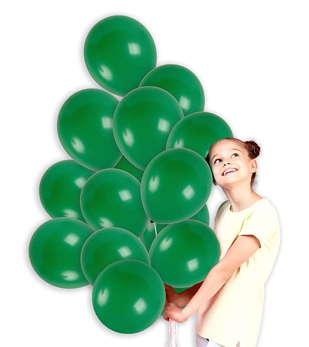 Treasures Gifted 12 Inch Dark Green Solid Latex Balloons Premium Quality with Curling Ribbons Bouquet for Jungle Theme Birthday Party Monster Party Baby Shower Wedding Mardi Gras Supplies (72 Pack)