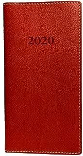 2020 Weekly Pocket Bonded Leather Engagement Planner Calendar (Including October 2019-December 2019) with Pen (Red Rose)