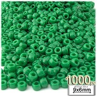 1,000pc Plastic Round Opaque Pony Beads 9x6mm Emerald Green Beads