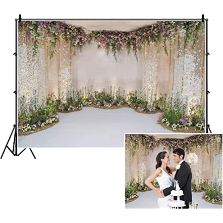 OERJU 5x4ft Wedding Backdrop Colorful Floral Garland Wedding Ceremony Photography Background Bridal Shower Party Banner Lover Proposal Engagement Party Decor Kids Adults Portrait Photo Props