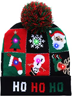 40eae3116f6 akiido LED Ugly Christmas Hat Novelty Light-up Colorful Stylish Beanie Cap  Knitted Sweater Xmas