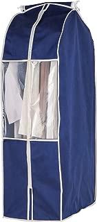 アストロ 洋服カバー ワイド スーツサイズ ネイビー 不織布 透明窓 防虫剤ポケット付き 底までカバー まとめて収納 600-08