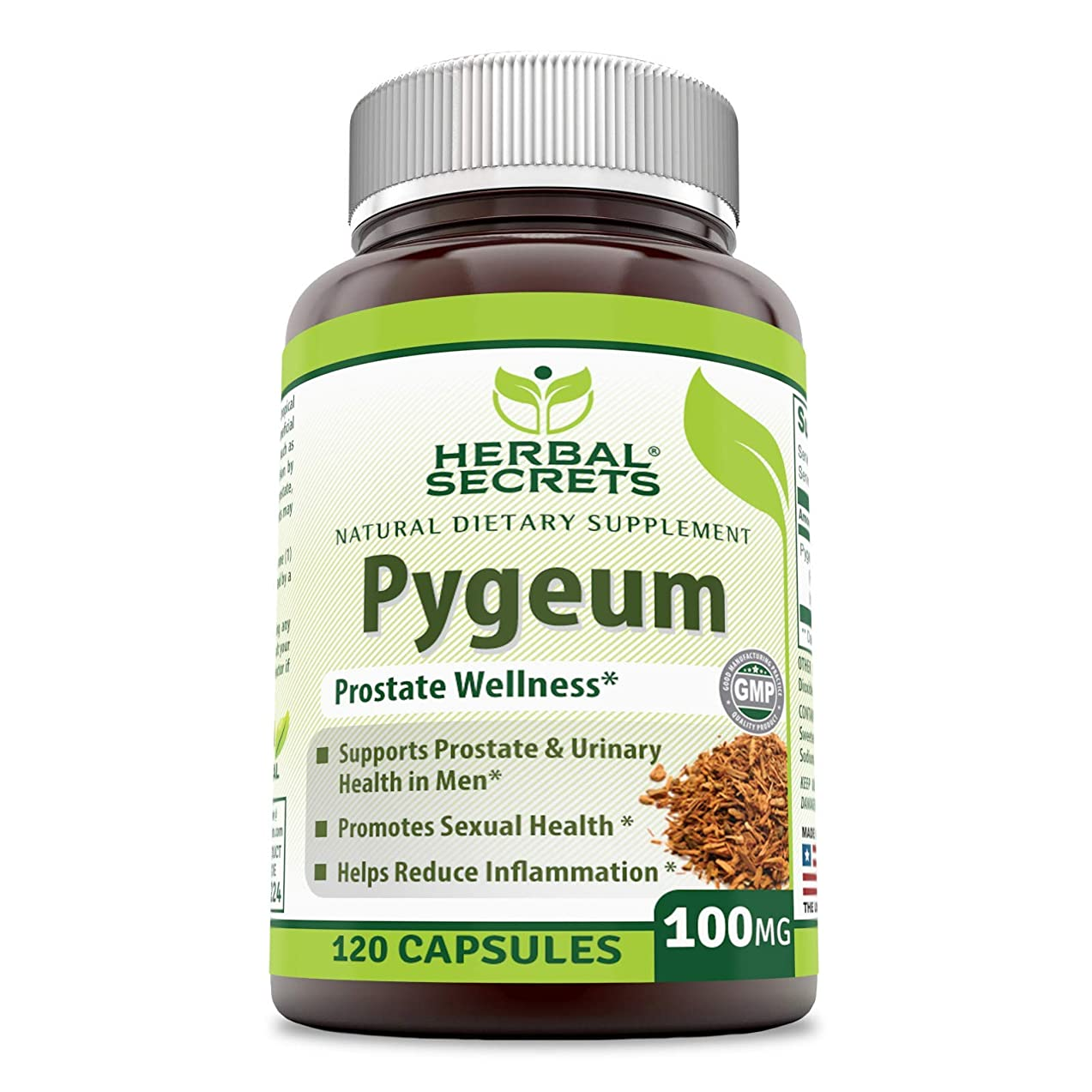 Herbal Secrets African Pygeum Extract - 100mg 120 Capsules (Non-GMO) - Supports Prostate & Urinary Health on Men, Promotes Sexual Health, Helps Reduce Inflammation* nbcjazyg061